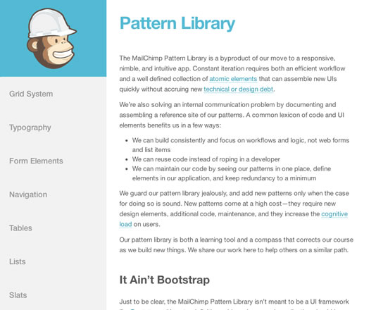 MailChimp Pattern Library